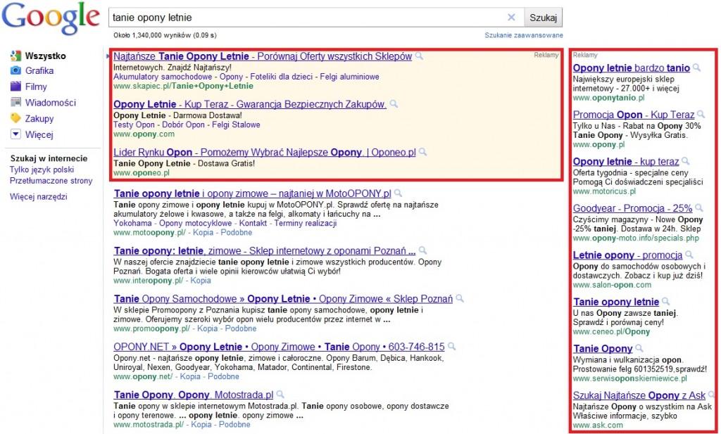 Boksy z linkami sponsorowanymi systemy Google AdWords